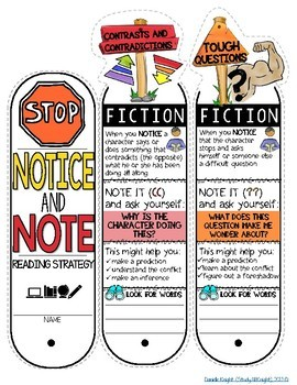 NOTICE AND NOTE READING STRATEGIES, POSTERS, ANCHOR CHARTS, AND INTERACTIVE FAN
