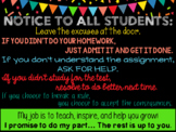 NOTICE TO ALL STUDENTS - Classroom Poster