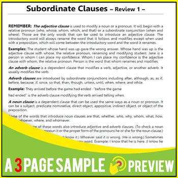 NOUN CLAUSE GRAMMAR WORKSHEETS   SUBORDINATE CLAUSE REVIEWS   Gr 5 - 6   ELA
