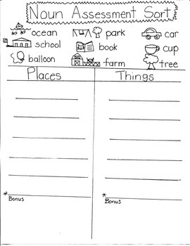 NOUN SORTS and ASSESSMENTS for YOUNG ARTISTS
