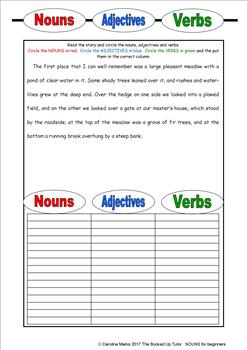 NOUNS, VERBS and ADJECTIVES for beginners PARTS OF SPEECH