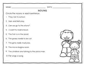 Nouns Interactive Flip Tab Books for People Places and Things