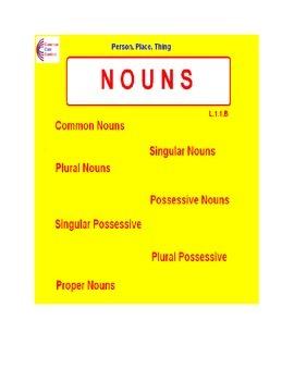 NOUNS L.1.1.B  Common, Plural, Singular, Possessive, Proper- Common Core Content