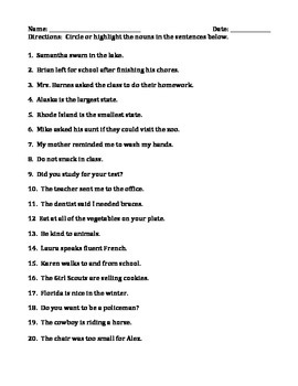 NOUNS: PERSON, PLACE, THING, AND IDEA (GRADES 4 and 5)