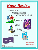 NOUNS Review Lessons, Worksheets, Activities, and Quiz