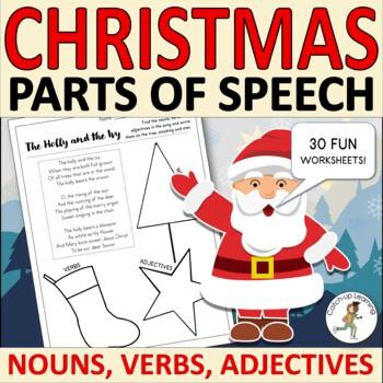 {Christmas ADJECTIVES} {Christmas grammar worksheets} {Christmas nouns}