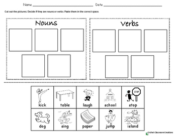 NOUNS VERBS AND ADJECTIVES - CUT AND PASTE
