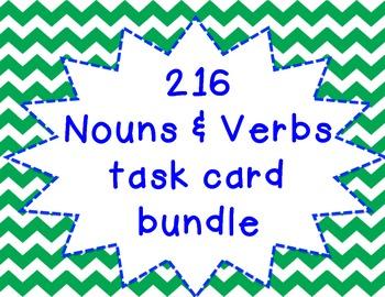 NOUNS and VERBS task card bundle- 216 task cards!