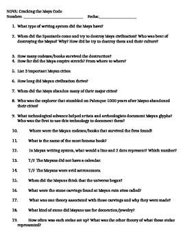 NOVA Cracking the Maya Code Comprehension Questions