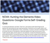 NOVA: Hunting the Elements Video Questions, Google Forms S