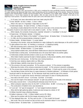 NOVA: Invisible Universe (Hubble 25th Anniversary) Video Questions & Puzzle