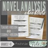NOVEL ANALYSIS CHECKLISTS | Grades 1-5 |Teacher & Student