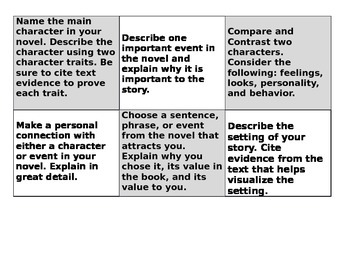 Choice Board for Novels, Reading Literature