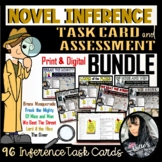 Inference Novel Task Cards, Test,  Answer Keys, Graphic Organizer, and Bookmarks