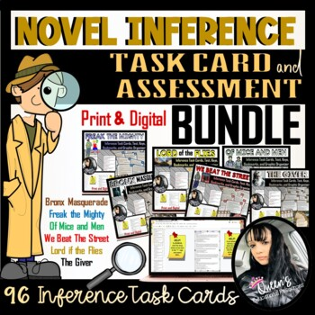 Inference Novel Task Cards, Tests,  Answer Keys, Graphic Organizer, 'N Bookmarks