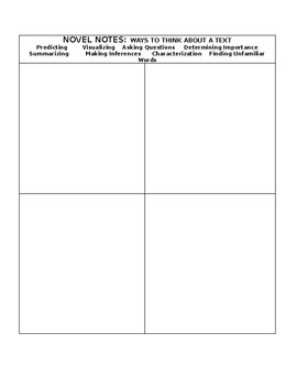 NOVEL NOTES - a template for taking notes during or after reading each chapter