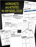 NOVEL STUDY WORKSHEETS AND ACTIVITIES FOR ANY NOVEL OR STORY