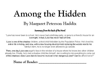 Among the Hidden by Margaret Haddix 41 pg. NOVEL UNIT 5th, 6th, 7th, 8th CCSS