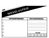 NOVEL VS FILM CHART FOR ANY SUBJECT, BOOK, MOVIE!!