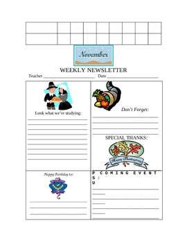 NOVEMBER CHECKLIST AND WEEKLY NEWSLETTER TEMPLATES
