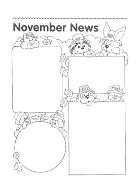 NOVEMBER Calendar and Themed Writing Pages - FREE