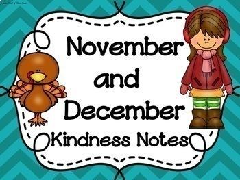 NOVEMBER & DECEMBER Kindness Notes--Showing Good Character