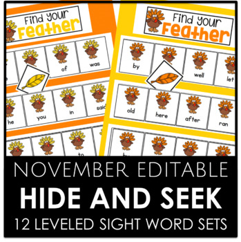 NOVEMBER EDITABLE - Hide and Seek 12 Different Sight Word Sets