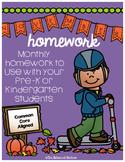 PreK/K Homework, November, Monday thru Thursday
