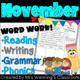 1st Grade NOVEMBER Lesson Plan Bundle with Activities & Word Work!
