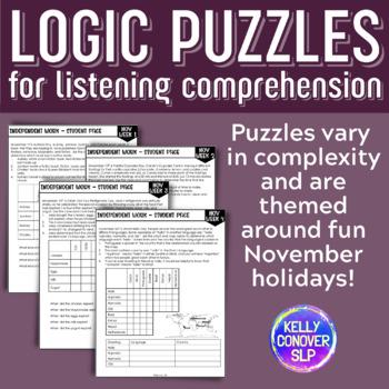 NOVEMBER Logic Puzzles for Listening Comprehension for SLPs