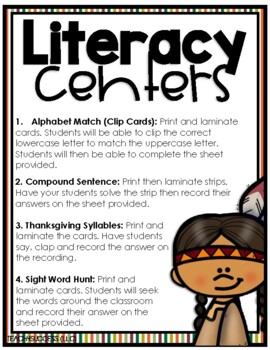 NOVEMBER MATH & LITERACY| SMALL GROUP ACTIVITIES