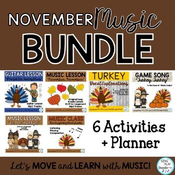 November Music Class Lesson Bundle: Songs, Games, Printabl