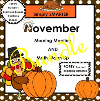 NOVEMBER MORNING MEETING AND MATH WARM UP BUNDLE