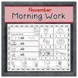 NOVEMBER Kindergarten Morning Work  | Phonics Writing Math
