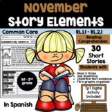 NOVEMBER READING COMPREHENSION STORY ELEMENTS IN SPANISH