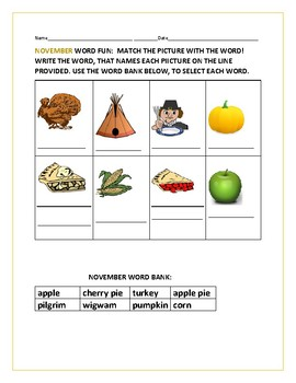 NOVEMBER WORD MATCH: MATCH THE PICTURE TO THE WORD: K-2