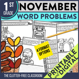 NOVEMBER WORD PROBLEMS 1st Grade