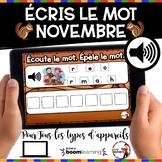 NOVEMBRE French BOOM cards - Écoute et écris le nom (NOVEM