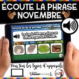 NOVEMBRE French BOOM cards - Écoute et lis la phrase. (NOV