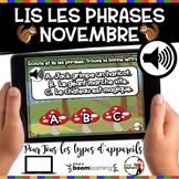 NOVEMBRE French BOOM cards-Écoute et lis les phrases. (NOV