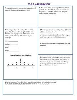 N.Q.1/2/3 Common Core Assessment/Test - ALL N.Q Standards