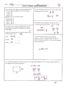 N.Q.2 Post Assessment/Test Algebra 1 Common Core