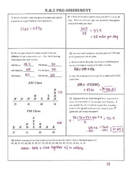 N.Q.2 Pre AND Post Assessment/Test Algebra 1 Common Core