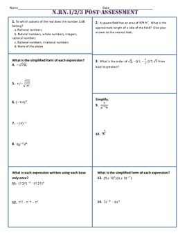 N.RN.1,2,3 Post Assessment/Test Algebra 1 Common Core