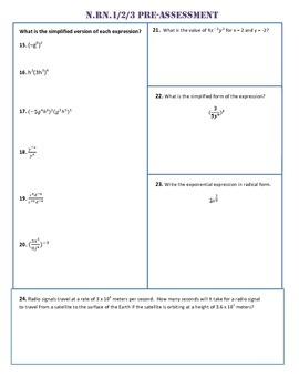 N.RN.1,2,3 Pre Assessment/Test Algebra 1 Common Core