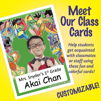 NSD1510 Superheroes (green) Editable Meet Our Class Cards