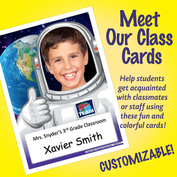 NSD1514 Astronaut Editable Meet Our Class Cards