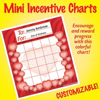 NSD2215 Mini Incentive Charts: Editable Hearts Charts