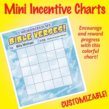 NSD2302 I Memorized My Bible Verses! Editable Mini Incentive Charts