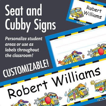 NSD5002 School Bus Editable Seat and Cubby Signs